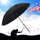 Review Toko Oh Windproof Japanese Style Straight Long Handle Rainy Sunny Umbrella Manual Open 16 Black Intl