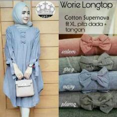 Ohinstore/ Baju Atasan Wanita Tunik Baju Muslim Blus Muslim Worie Longtop  Cardigan Cewek/Cardigan