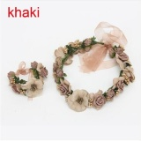Spesifikasi Okdeals Wedding Bride G*rl Lace Flowers Crown Garland Headband Hand Flower Wreath Set Hair Accessories Khaki Intl Paling Bagus