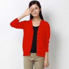 Toko Okechuku Basic Knit Cardigan V Neck Ladies Red Online Terpercaya