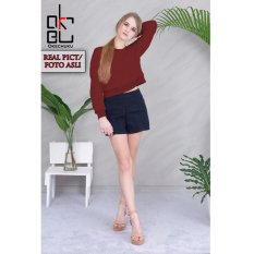 Tips Beli Okechuku Della Crop Top Sweater Long Sleeve Maroon