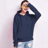 Spesifikasi Okechuku Sweater Hoodie Wanita Bahan Fleece Navy