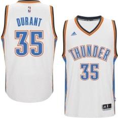 Oklahoma City Thunder #35 NBA Pria Kevin Durant 2014-15 Musim Rumah Putih Pria Basket Jersey Harga Bagus Kualitas Tinggi-Intl