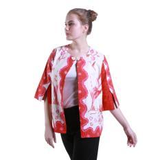 Oktovina-HouseOfBatik Blazer Cape Batik Katun Klasik - Batik Tulis BCTK-2 – Putih Merah / Baju Wanita / Blazer Wanita / Outer Wanita / Baju Batik Wanita / Blazer Batik / Outer Batik / Atasan Wanita Batik / Batik Wanita