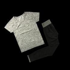 Model T Shirt Kebugaran Berlari Atasan Perempuan Aerobik Ruang Dicelup Abu Abu 95 Model Abu Abu Pinggang Celana Terbaru