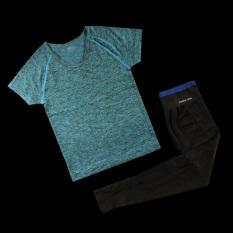 Ulasan Lengkap Tentang T Shirt Kebugaran Berlari Atasan Perempuan Aerobik Ruang Dicelup Biru L*L*T* Sisi Biru Dan Celana Panjang Hitam