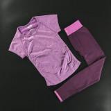 Review Toko Olahraga Berjalan Lengan Pendek Perempuan T Shirt Pakaian Kebugaran Ungu Lengan Pendek Asli Anggur Merah Online