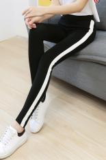 Ulasan Versi Korea Dari Katun Musim Gugur Celana Baru Kaki Legging Olahraga Hitam Hitam
