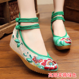 Ongkos Kirim Sepatu Kain Wanita Bordiran Bagian Dalam Dipertinggi Gaya Etnis Bertumit Tinggi Bunga Kembang Sepatu Hijau Di Tiongkok