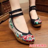 Beli Sepatu Kain Wanita Bordiran Bagian Dalam Dipertinggi Gaya Etnis Bunga Kembang Sepatu Hak Tinggi Hitam Yang Bagus