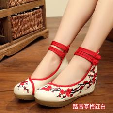 Review Terbaik Old Beijing Perempuan Han Sepatu Pakaian Cina Sepatu Sepatu Kain Salju Hm Merah Dan Putih