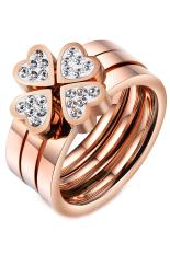 Jual Olen 3 In 1 Heart Untuk Clover Bunga Stainless Steel Ring Rose Gold Ori