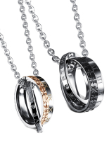 Olen Cincin Ganda dengan Surat Beberapa Kalung Hitam dan Emas