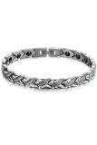 Olen Men Magnetic Stainless Steel With Rhinestone Bracelet White Murah