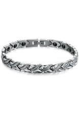 Toko Olen Men Magnetic Stainless Steel With Rhinestone Bracelet White Termurah Tiongkok