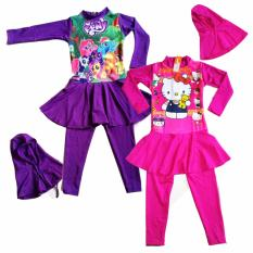 OLENO Girls Cute Swimwear Cartoon Size M-XXL BAJU RENANG ANAK PEREMPUAN-Pink
