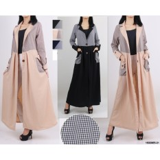 Spesifikasi Oma Fashion Long Cardigan Two Buttons Motif Kotak 4 Warna Size L