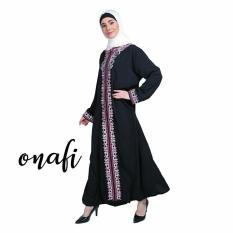 ONAFI Gamis Abaya Arab Hitam Bordir FIRDAUS