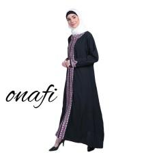 Onafi Gamis Abaya Arab Hitam Bordir MAYMUNA