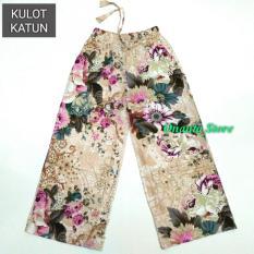 Ulasan Tentang Onanta Kulot Bunga Kulot Katun Corak Kembang Besar Stretch Cotton Celana Wanita Celana Panjang Katun