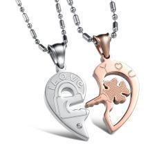 One Pair Love You Lock Key Puzzle Pendant Crystal Rhinestone Titanium Steel Couples Lovers Necklace Gx553 Golden Oem Diskon