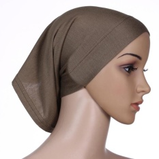 One Piece Muslim Jilbab Pendek Adjustable Stretch Islam Bucket Hat Kapas Kopi-Intl