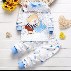 Onemarkets Piyama bayi / Baju Tidur Bayi Korean Style Motif Bear Star Blue