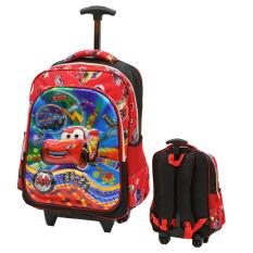 Beli Onlan Cars Mcqueen 5D Timbul Anti Gores Tas Trolley Anak Sekolah Ukuran Sd Import Merah Terbaru