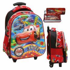 Promo Onlan Cars Mcqueen 5D Timbul Glow Unik Trolley Anak Tk Dan Kotak Pensil Import Merah Murah