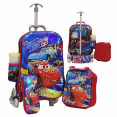 Onlan Cars MCQueen 6D Timbul Trolley Anak 4in1 Set 6 Roda Gagang Samurai Import - Blue