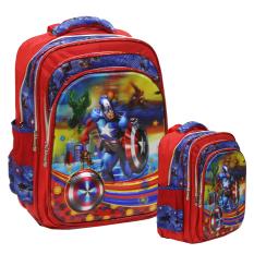 Review Onlan Marvel Avengers Captain America 5D Timbul Hologram Tas Ransel Anak 4 Kantung Besar Import Blue