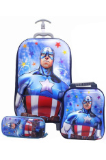 Harga Onlan Marvel Avengers Captain America 5D Timbul Hologram Trolley Anak Sekolah 3In1 Set 6 Roda Gagang Samurai Biru Seken