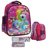 Jual Onlan My Little Pony 5D Timbul Hologram Tas Ransel Tk Ada 2 Kantung Depan Import Dan Kotak Pensil Set Alat Tulis Pink Ori
