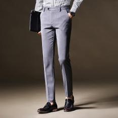 Harga Terbuka 2017 Jatuh New England Pria Bisnis Slim Celana Korea Pria Bisnis Mens Pekerjaan Kantor Formal Hitam Celana Celana Panjang Abu Abu Intl Hequ Baru