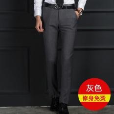 TERBUKA Laki-laki Versi Tipis Korea Profesional Bisnis Slim Adalah Celana Abu-abu-Intl