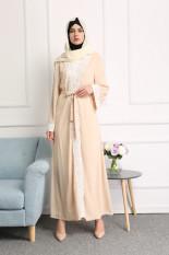 Warna Permen Gaun Putih Jubah Panjang Arab Trendi (Krem)