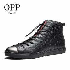 Harga Opp 2017 Sepatu Ukiran Kulit Original Metalik Sepatu Boots Tinggi For Pria Hitam Intl Opp Tiongkok