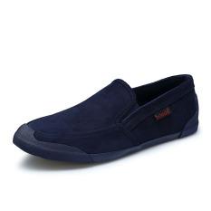 Orang Malas Sepatu Kanvas Tanah Laki-laki Sepatu Retro (Biru Tua Warna)