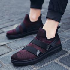 Review Tentang Orang Malas Gelang Karet Musim Semi Pria Tali Sepatu Sepatu Sepatu Olahraga Model Pria Hitam Dan Merah