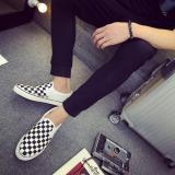 Diskon Orang Malas Hitam Dan Putih Kotak Kotak Siswa Mudah Dipakai Kanvas Sepatu Baru Sepatu Pria Putih Tiongkok