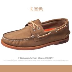 Musim panas sepatu pria kasual Inggris Sepatu Kanvas Kulit asli Orang Malas mudah dipakai Kulit suede Carrefour sepatu pria Gaya Korea netral