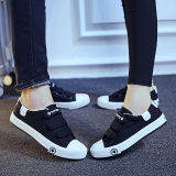 Harga Orang Malas Korea Fashion Style Kain Datar Sepatu Lengket Sepatu Kets Putih Velcro Kanvas Sepatu Model Wanita Hitam