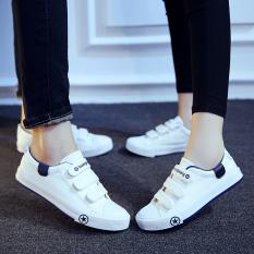Toko Orang Malas Korea Fashion Style Kain Datar Sepatu Lengket Sepatu Kets Putih Velcro Kanvas Sepatu Model Wanita Putih Online Di Tiongkok
