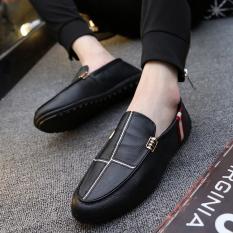 Jual Cepat Orang Malas Sepatu Korea Fashion Style Musim Panas Sepatu Trendi Laki Laki Hitam
