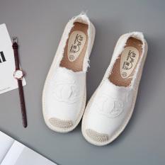 Orang Malas Korea Modis Gaya Pijakan Empuk Wanita Datar Sepatu Patuh Sepatu Kain (Putih)