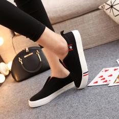 Miliki Segera Orang Malas Mudah Dipakai Hitam Kanvas Sepatu Sepatu Ukuran Besar Sepatu Wanita Hitam