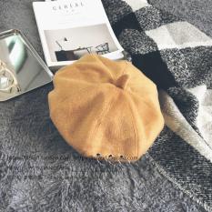 Korea Selatan Orang Trendi Cincin Besi Topi Belle Topi Pelukis Versi Korea Pria dan Wanita Hitam