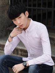 Orang & Merah Lengan Panjang Pria BARU Shirt Bisnis Profesional Biasa Stripe Slim Mentops Formal Shirt-Intl