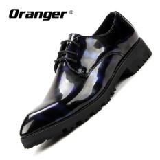 Oranger Pria Pria Berpakaian Oxford Sepatu LACE UP Pria Flats Sepatu Pernikahan Pria Bisnis Pernikahan Sepatu Baju Sepatu (Biru) -Intl
