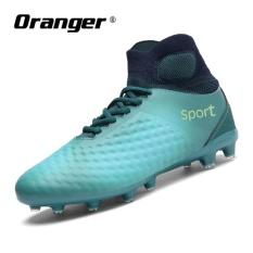 Oranger Sepak Bola Pria Sepatu Boots Lonjakan Panjang Olahraga Sepak Bola Merek Sepatu Sneakers Pria Outdoor Tinggi Ankle Boots (Biru) -Intl
